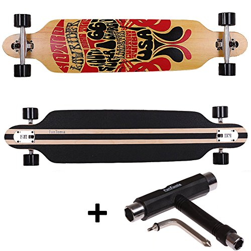 FunTomia Longboard Skateboard Drop Through Cruiser Komplettboard mit Mach1® ABEC-11 High Speed Kugellager T-Tool (Modell Freerider2 - Farbe Route66 + T-Tool)