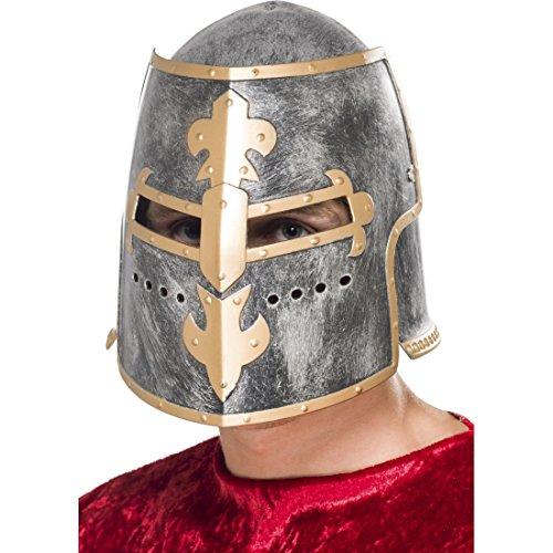 Amakando Kreuzritter Helm Ritterhelm mit Visier Kriegerhelm Topfhelm Mittelalter Kopfbedeckung Ritter Kostüm Zubehör