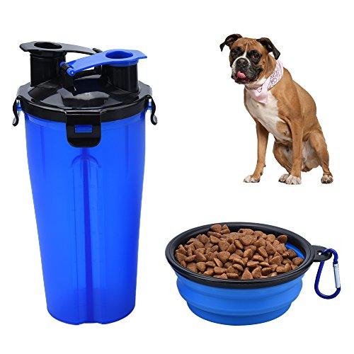 Glas-hund-wasser-flasche (petacc dual-chamber Pet Trinken Snack Flasche PET Outdoor Spender Wasser Cup tragbar Pet Dual Gemeines Hydration Flasche mit Faltbare Schüssel, für Außen geeignet, Blau)