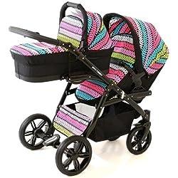 Coche gemelar doble (gemelar). Niños diferentes edades. 2 sillas + 1 capazo + accesorios. BBtwin. Multicolor