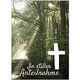 8 x Beileidskarte mit Umschlag/Motiv In stiller Anteilnahme Wald Lichtung/Beerdigung, Trauer, Sterbefall, Tod/Anteilnahme/Beileid