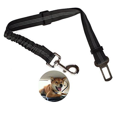 Reflektieren das Licht verstellbar Langlebig Hund Katze Sicherheitsgurt Geschirr für Auto Fahrzeug Sicherheitsgurt Leine Schnalle mit Elastic Nylon Bungee Puffer (schwarz)