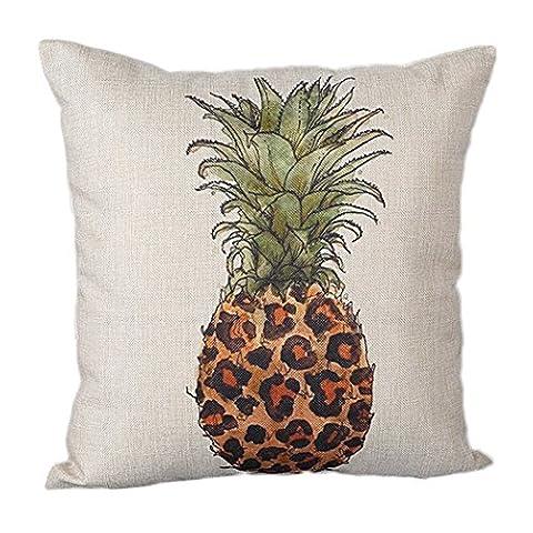 Loulanjx carré Couvre-lit décoratif Taie d'oreiller Housse de coussin Motif d'ananas peint à la main Impression numérique en lin Mode Taie d'oreiller/taie d'oreiller 45,7x 45,7cm, Coton, Pattern-D, 45 cm x 45 cm