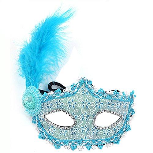 Maske Bauta Kostüm (Fashion Pfirsich handgemaltes Venezianische Maske Princess Feder Maske Kostüm Ball Ball Hochzeit)