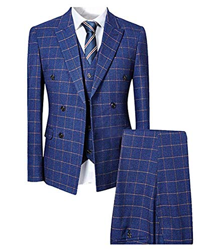 Cloudstyle Herren taillierter Anzug 3-Teilig Slim Fit für Hochzeit und Party Blau Medium