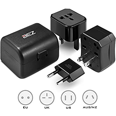 Universal Power Adapter Plug, BEZ® All-In-One Power Plug Adapter Fits Wall AC Adaptor Outlets in US, EU, AU, UK and More - High Quality, SGS, CE Approved