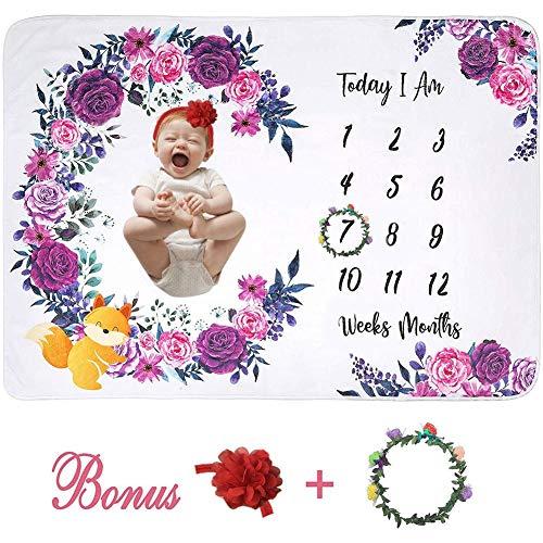fridaymonga Baby Monatsmeilenstein Decke,Baby Neugeborenen Personalisierte Fotografie Decke Weiche Flanell Decke Foto Hintergrund Requisiten Mit Kranz & Stirnband, 150 × 100 cm -