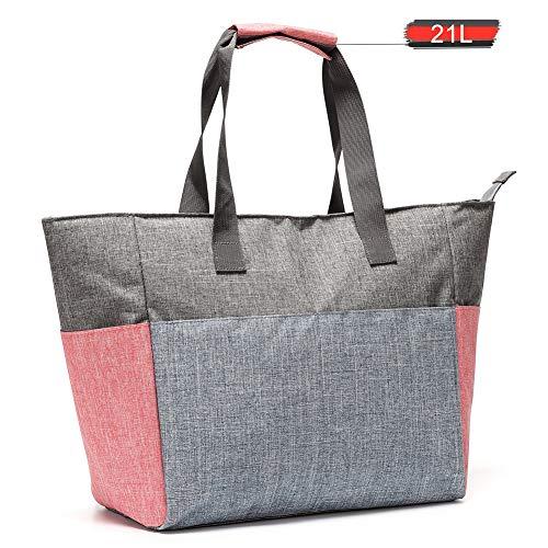 Jeckyxun Faltbar Gross Kühltasche 20L 30L Isolierte Lunch-Tasche für Picknick Strand Mittagessen Arbeit Einkaufs Auto Grillen, Tragbarer (Grau-21L)