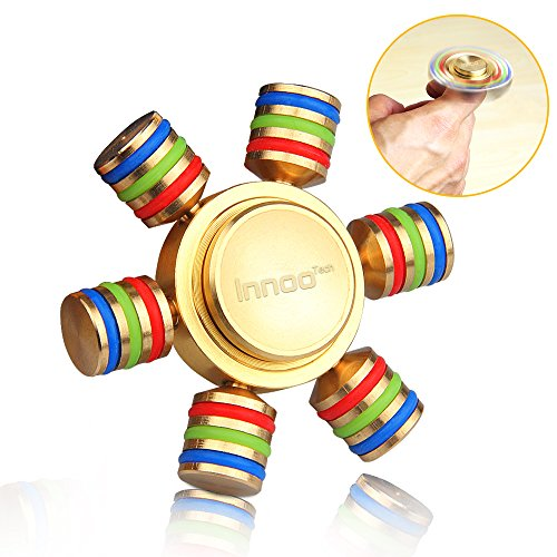 Fidget spinner | spinner metallo | innootech spinner antistress 6 ali bracci rimovibili diy | cuscinetto giocattolo gira 3-5 minuti ad alta velocità perfetto per adulti o bambini hand spinner