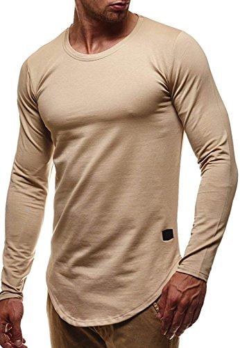 LEIF NELSON Herren Basic Pullover Hoodie Sweatshirt Longsleeve Rundhals Langarm Sweater Shirt Hoody LN6367; Größe S, Beige  