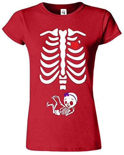 Adorable Skeleton Heart Dames Top T-Shirt Maternity Pregnancy Baby Femme Rouge