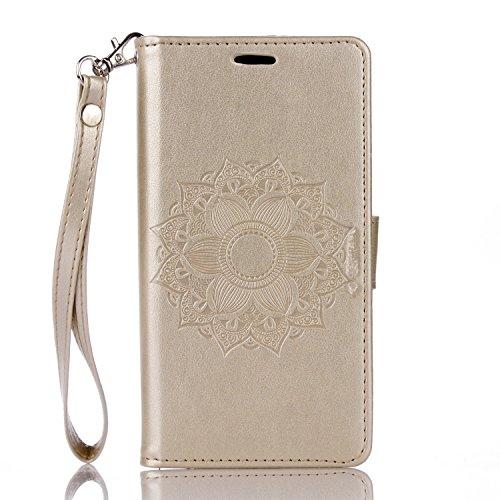 Mokyo Sony Xperia XA Hülle mit Frei Bildschirmschutz,Premium Flip Karte Halterung PU Leder Brieftasche Prägung Mandala Muster mit Kartenfächer Magnetverschluss Stand-Funktion Beschützer Handy Schutzhü Gold