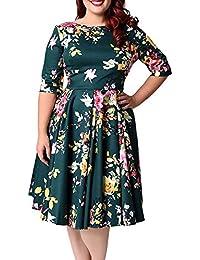 ZAFUL Mujer Vintage 50S Vestido de Fiesta Impresión Flores Mangas Medias 3XL-9XL
