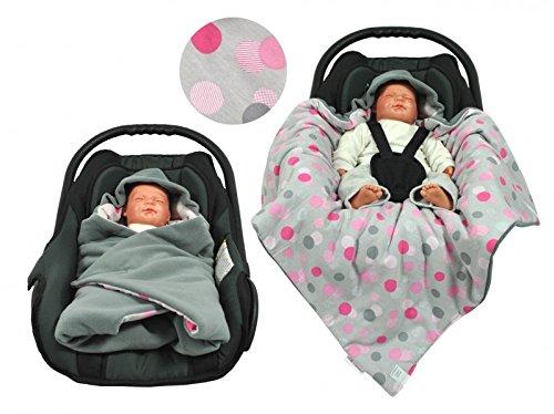 Einschlagdecke für die Babyschale Fußsack für kalte Tage in verschiedenen Farben von HOBEA-Germany, Farben Winterdecken:grau mit Punkten