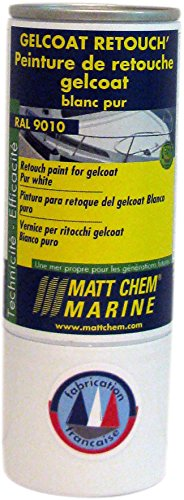Matt Chem - Pintura de retoque Gelcoat, blanco, 187M