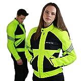 Dünne Motorradjacke -Go- Motorrad Sommerjacke Protektorenjacke Damen Sommer Jacke Kurz Elegant Leicht Textil Mesh - schwarz-neon-grün-gelb - L