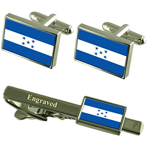 Select Gifts Honduras Fahne Manschettenknöpfe gravierte Krawattenklammer passende Box Set (Honduras Silber Schmuck)