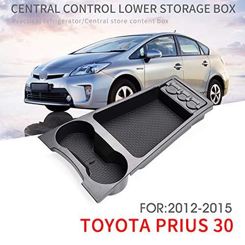 L&U Auto Front Center Console Tray, Armlehnen Organizer Aufbewahrungsbox mit Cupholder Geeignet für Toyoto Prius 30 2012-2015