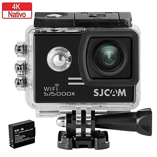 SJCam 5000X Elite (versión española) - Videocámara deportiva (WiFi integrado, 4K, pantalla de 2'' LCD, WiFi, sumergible 30 m) color negro