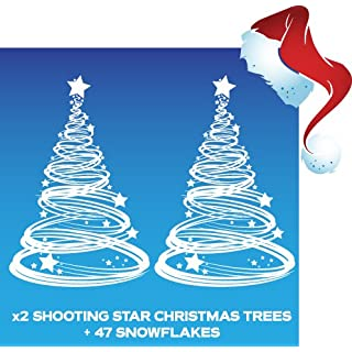 Aurum92 x2 Shooting Star Christmas Tree Window Cling Decoration and 47 Snowflakes
