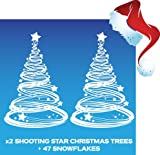 Aurum92 Decorazione natalizia da attaccare alla finestra, motivo: stella cometa e albero di Natale, con 47 fiocchi di neve, confezione da 2