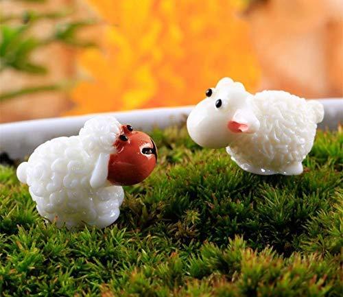 VPlus 20 Stücke Nette Mini Cabochons Schafe Ziege Harz Figuren Handwerk DIY Miniatur Tier Micro Landschaft Hause Puppenhaus Dekor für Outdoor, Patio, Micro Landschaft, Hof Bonsai