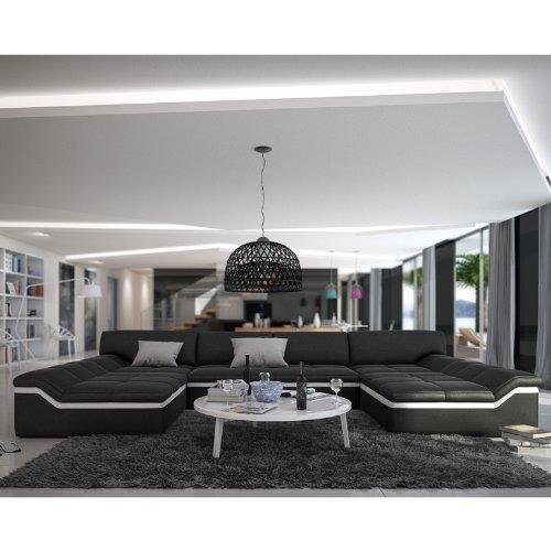 XXL Wohn-Landschaft mit Kunstleder Bezug 380x220 cm U-Form schwarz/weiß | Sarari-U | Designer Eck-Sofa mit 2 Recamieren | Couch-Garnitur für Wohnzimmer schwarz/Weiss 380cm x 220cm