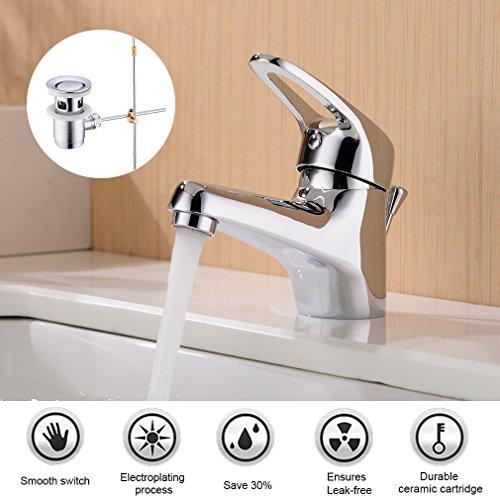 Chrom Pop-up (BONADE Chrom Wasserfall Einhand-Waschtischarmatur mit Pop-Up-Ablaufgarnitur Wasserhahn Bad Armatur für Badezimmer Waschbecken)