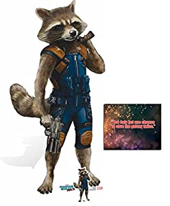 Fan Pack - Rocket Raccoon Guardians Of The Galaxy Vol. 2 Lifesize and Mini Cardboard Standup / Cutout - Plus 8x10 Star Photo