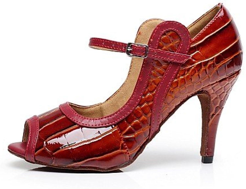 T.T-Q Damen Tanzschuhe Leder Patent Stöckelabsatz Rot