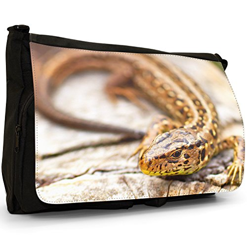Lucertole Del Mondo – Borsa Tracolla Tela Nera Grande Scuola/Borsa Per Laptop Speckled Black Lizard On Wood