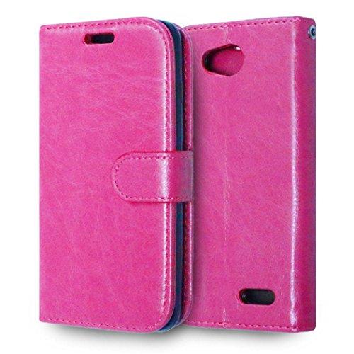 casefirst LG L90 Wallet Case, LG L90 Leather Case, Premium PU Leather Anti-Scratch Folio Stand Bumper Back Cover for LG L90 - Hot Pink (Lg L90 Case Folio)