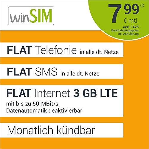 winSIM LTE All 3 GB Allnet Flat - monatlich kündbar (FLAT Internet 3 GB LTE mit max. 50 MBit/s mit deaktivierbarer Datenautomatik, FLAT Telefonie, FLAT SMS und FLAT EU-Ausland, 7,99 Euro/Monat)