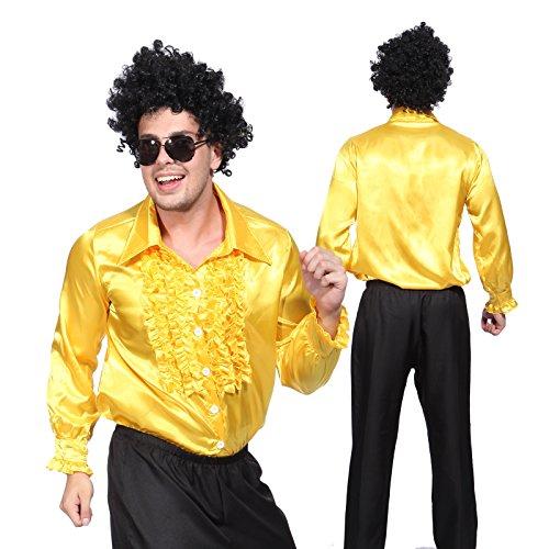 Anladia Herren Kostüm Disco Shirt Satin Disco Schlager Star Kostüm Rüschenhemd Herrenmode Prost (Herren Shirt Kostüm)
