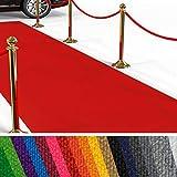 etm Hochwertiger Messeteppich Meterware | Rollteppich VIP Eventteppich, Hollywood Läufer, Hochzeitsteppich | 18 Farben in 23 Größen | Rot - 100x400 cm