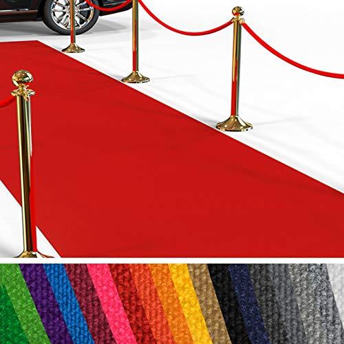 seteppich Meterware | Rollteppich VIP Eventteppich, Hollywood Läufer, Hochzeitsteppich | 18 Farben in 23 Größen | Rot - 100x400 cm ()
