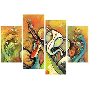 eCraftIndia 'Lord Ganesha' Painting (Canvas Print, 121.92 cm x 76.2 cm, Set of 4, CPGKB79118)