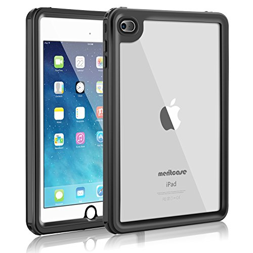 meritcase iPad Mini 4 Waterproof Case, iPad Mini 4(7.9 inch), IP68 Waterproof Full Body Snowproof Dustproof Shockproof Case with Touch ID for Snowmobile Swimming Surfing Diving- (Black)