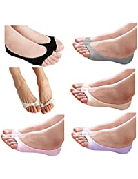 Ladies/Womens/Girls Low Cut TOELESS Cotton No Show Socks Summer Peep Toe Socks Hidden Socks Non-slip Heel Grip 6 Pack