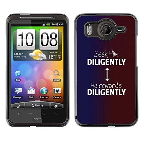 DREAMCASE Bibelzitate Bild Hart Handy Schutzhülle Schutz Schale Case Cover Etui für HTC DESIRE HD / INSPIRE 4G - ihn suchen (Inspire Cover Htc)