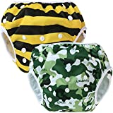 Teamoy 2-teilig Baby Schwimmhose Badewindelhose Badehose (Camouflage+ Bees)