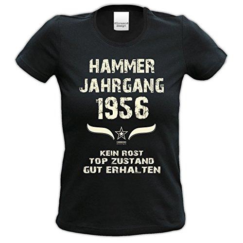 Damen-Kurzarm-T-Shirt Girlieshirt Hammer Jahrgang 1956 Geschenk-Idee zum 61. Geburtstag Geburtstagsgeschenk Farbe: schwarz und rot schwarz-01