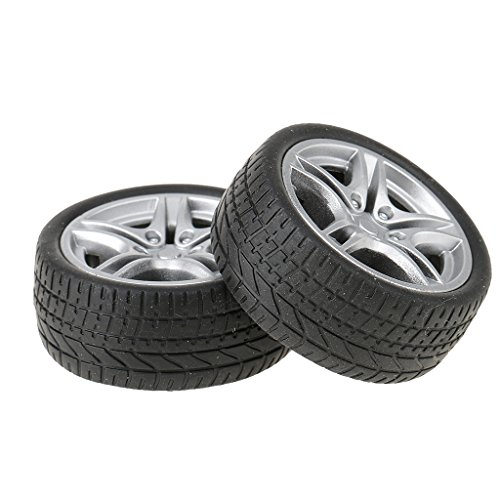 Baoblae 2 Pieces 48mm Rubber Wheels Tyres Car Truck Model Toys Wheels for Truck/Buses Making  available at amazon for Rs.230