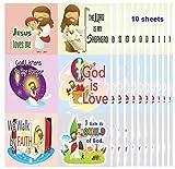 """Pegatinas cristianas para niños (10 hojas), texto en inglés """"Dios es amor por la confirmación"""", para diario o planificador, notas adhesivas, álbumes de recortes, decoración de fiestas, regalos, calcetines, para niños, niñas y niños"""