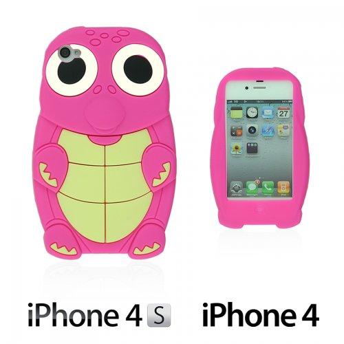 OBiDi - 3D Tortue Coque en Silicone / Housse pour Apple iPhone 4S / Apple iPhone 4 - Jaune avec 3 Film de Protection et Stylet Hot Pink