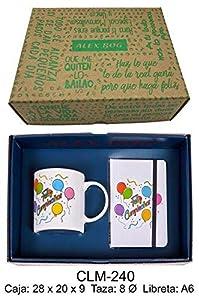 REGALO- Conjunto libreta y Taza mug con Mensaje,Feliz cumpleaños Sets de Material Escolar (RM 1)