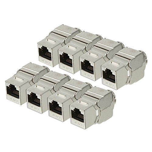 ZCHXD RJ 45 Keystone Jack Module Cat.5E FTP 500 MHz 10GB No Tools Needed Shielded - 8 Pack Silver -