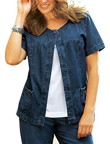 adonia mode 1-Knopf Jeansjacke Jeansblazer Jacke Kurzarm Blue Gr.56 (Blaue Kurzarm-jacke)