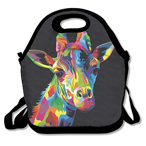 Giraffe Colorful Bright Head Ziplock Lunch Tote Bag Portable Handbag Lunch Box Waterproof Insulated Food Container for Boys&Girls School Picnic Office Travel Outdoor