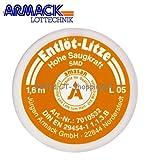 Amasan Entlötlitze Spulen L05 (orange= SMD 0,5mm breit) mit hoher Saugfähigkeit aus Kupfer 1,60 Meter Spule